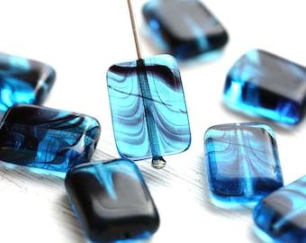 Aqua Blue beads, Rectangular beads, czech glass rectangle beads, flat, geometrical, blue beads - 14x10mm - 8Pc - 2478