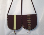 Brown, Rust & Olive Dotted Check Print Crossover Purse with Beads