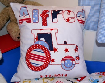 Boys gift Personalized Cushion boys gift Tractor applique design. Nursery bedroom playroom decoration boys or baby gift