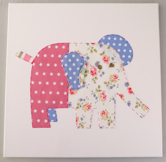 Girls nursery wall art Personalised Elephant canvas picture. Perfect new baby or Christening gift. Three sizes available