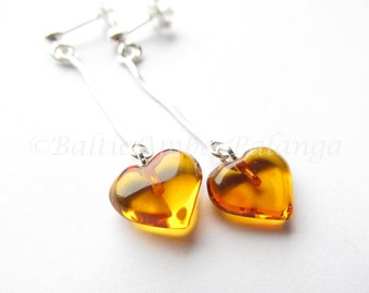 Baltic Amber Dangle Heart Cognac Color Earrings