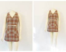 Vintage Dress 60s Mod Mini Dress Front Metal Zipper Handmade Beige Camel Cream Plaid S - M