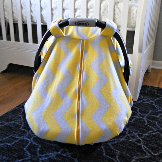 fleece baby car seat carrier canopy cover mustard yellow and. Black Bedroom Furniture Sets. Home Design Ideas