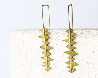Irregular Earrings - Sterling silver and brass, dangle earrings - handmade metalwork