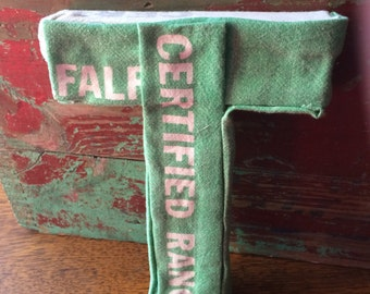 """SALE- Feed Sack/ Grain Sack Upcycled Letter """"T""""- Initial Decor"""