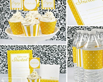 Stripes & Dots Printable Party, Athletic Yellow, DIY Party Kit for Sports and School Teams. Invitations, wraps, toppers. Instant Download.