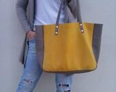 FREE SHIPPING/Yellow Leather bag/Leather grey bag/Tote leather bag/Shoulder bag/Oversized leather bag/Market leather bag/By Lara Klass