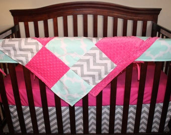 Mint Fynn, Gray Chevron, and Hot Pink Crib Baby Bedding Ensemble with Patchwork Blanket