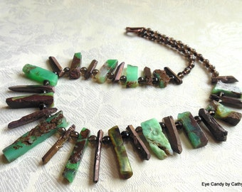 Gorgeous chrysoprase necklace, green and brown necklace, boho style rough sticks, smoky quartz, electroplated quartz sticks, copper toggle