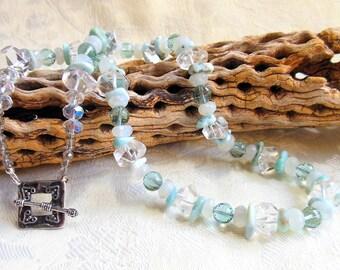 Larimar necklace, topaz necklace, quartz necklace, crystal necklace, blue topaz necklace
