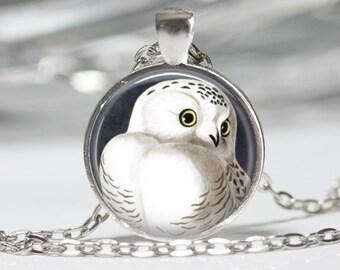 Owl Jewelry Owl Necklace Owl Glass Pendant Owl Necklace Snowy Owl
