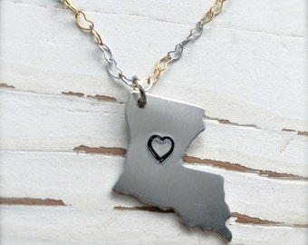 Handcrafted LOVE LOUISIANA, Silver tone, FREE Shipping, by Okrrah