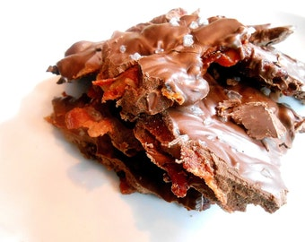 Chocolate Covered BACON BARK, Candied Bacon, Bark Candy, Sea Salt, Chocolate Nibblers