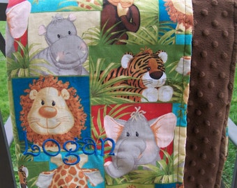 Baby Blanket Cotton and Minky Dot Jungle Animals