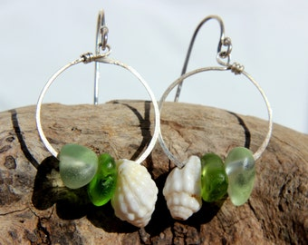 Hawaiian Small Aqua & Green Beach Glass with Gorgeous Tidal Snail Shells on Hammered 925 Sterling Silver Circular Wire Small Hoop Earrings