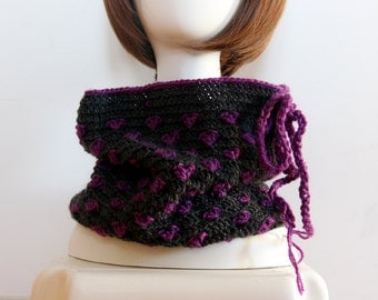 Purple Hearts Crocheted Neckwarmer, Cowl, Milti Use Crochet Hat for Adult, Winter Accessories, Hand Crocheted Hat, Valentine's Day Gift