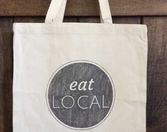 CLEARANCE - Eat local tote bag, farmers market bag, reusable shopping tote bag