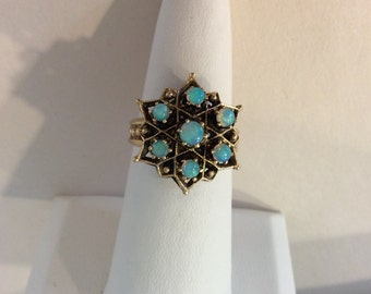 Antique Victorian Hand Made 14k. Gold & Opal Star of David Ring Great Condition