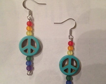 Turquoise and Rainbow Peace Earrings