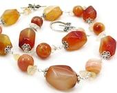 Chunky Carnelian Wire Wrapped Gemstone Necklace - Tangerine Orange - Dragonfly - Sterling Silver - Artisan Jewelry