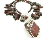 Statement Necklace - Wire Wrapped Red Tiger's Eye Pendant - Sterling Silver - Chunky Necklace - Tribal Necklace - Artisan Jewelry