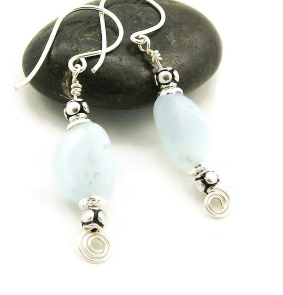 March Birthstone Aquamarine Gemstone Sterling Silver Dangle Earrings - Artisan Jewelry