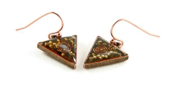 Orgone Energy Dangle Earrings - Small Triangle Drops in Antique Copper with Carnelian - Orgone Energy Jewelry - Artisan Jewelry