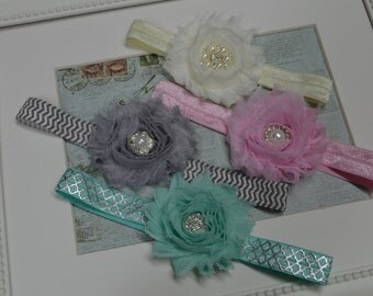 Set of four Headbands...Baby Bows...Baby Girl Headbands...Shabby Bows...Photography Prop...Newborn Headbands...Little Girl Headbands