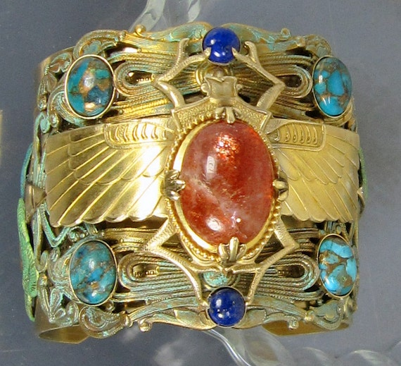 Bijoux égyptien, scarabée manchette, Bracelet égyptien, scarabée dor, Pierre de