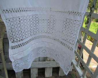 Vintage Runner Crochet Trimmed Scarf or Valance Snowy White Handmade Drawn work Needlework