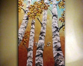 """Birch Tree Art Painting Abstract Contemporary Acrylic Heavy Textured Painting.Palette Knife.Home Wall Decor 48"""" Wall Hangings.... by Nata S."""