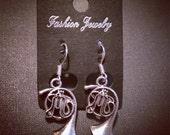 Little French Horn Earrings Tibetan Silver with 925 Sterling Silver Hooks