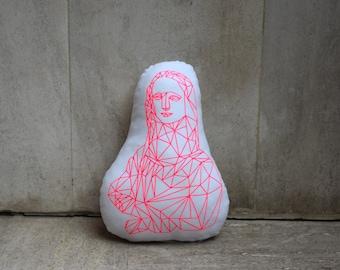 Geometric Gioconda Cushion - Neon Pink Applique on White Organic Cotton Canvas - Personalized Decorative Pillow