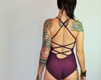 Custom XXX Cross Back One-Piece Swimsuit  Leotard Bodysuit /Any Size /32 Colors /Made to Measure