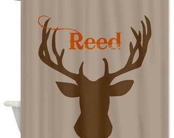 Deer Head Personalized Fabric Shower Curtain - You choose color