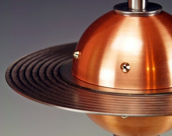 Retro UFO Flying Saucer table lamps.. 235. Steam punk industrial lamp. Mid century modern. 50s Atomic.  FAR OUT