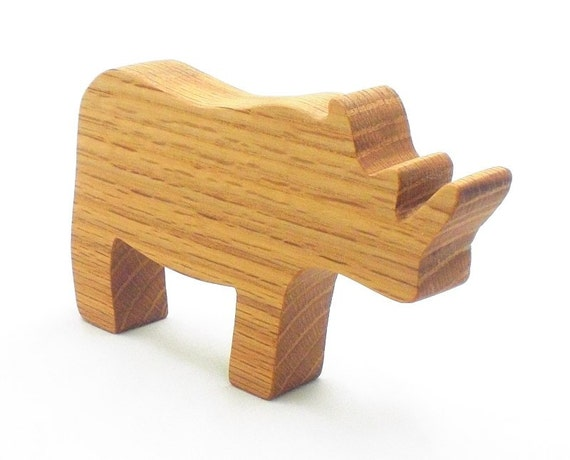 Wooden Toys For Boys : Handmade wooden toy animal rhino for kids