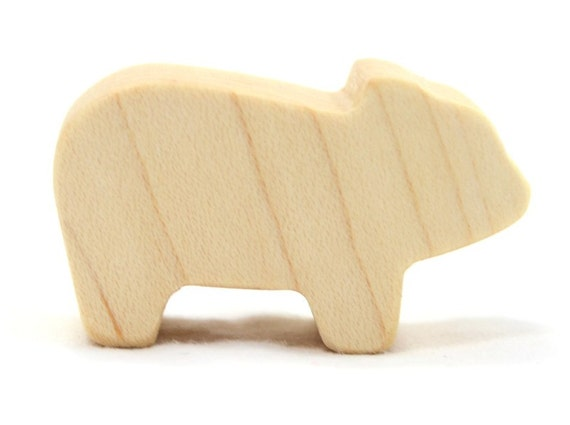 Wooden Farm Animal Toy Piglet or Pig, Kids Wooden Toy, Baby Pig, Small ...