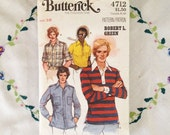 Men's sewing patterns, Butterick pattern 4712, men's shirt sewing pattern from 1970s