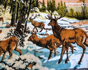Vintage Velvet Tapestry Wall Hanging Deer Buck Hunting Decor - Floyd Jones Vintage