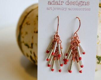 Silver Tubes Earrings - Silver clusters & Rose gold wraps, boho inspired earrings for women