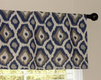 """Premier Prints Laken Indigo Valance 50"""" wide x 16"""" long Lined or Unlined taupe brown beige gray grey blue indigo oatmeal"""