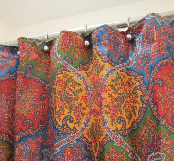 Blue Burgundy Pink Gold Green Paisley And Floral Fabric