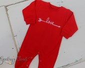 Valentine's Red love arrow romper or shirt. Boys and girls Valentine shirt. Embroidered LOVE design. Cute Valentine's Day Outfit.