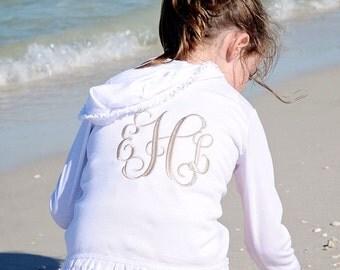 Girls Hoodie. Monogrammed Ruffle Sweatshirt. Lightweight Hoodie. Baby, toddler, little girl monogram. Cute boutique clothing. Summer clothes