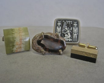 Vintage Cuff Link Collection SINGLE CUFF LINKS Egyptian Scene Natural Agate Slice Prongs Abstract 50s 60s Onyx Bar Collectible 4 Different