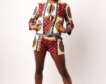 Burgundy, Yellow & Blue African Print Shorts