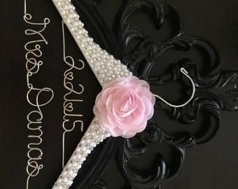 Brides Hanger, Bridal BLING Wedding Hanger, Bling Hanger, Glamorous Wedding Hanger, Personalized Name Hanger, Pearl Hanger, Mrs. Hanger