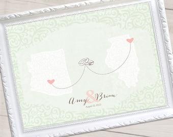 "Illustrated Custom Wedding Map, Wedding Guest Book Alternative Map, Garden Wedding, Custom Map, Sizes 5""x7"" up to 42""x70"""