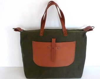 Free Express Shipping Army Green Waxed Canvas Weekender Bag  - Leather Single Strap Shoulder bag / Tote Bag / Diaper Bag